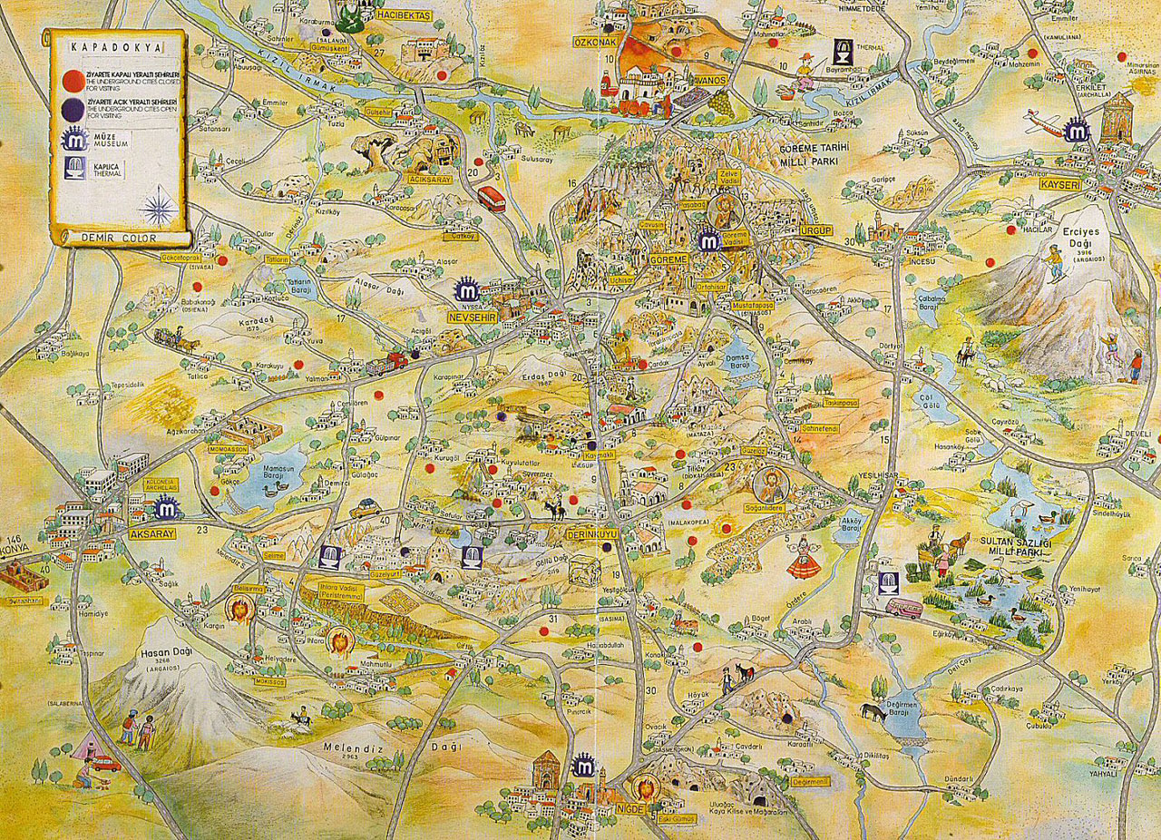 Illustrated map of Cappadocia
